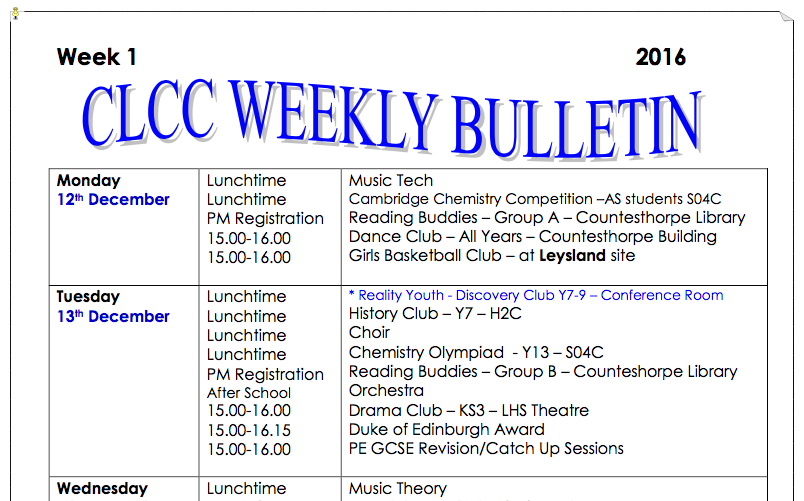 Weekly Bulletin – W/C 12th December 2016