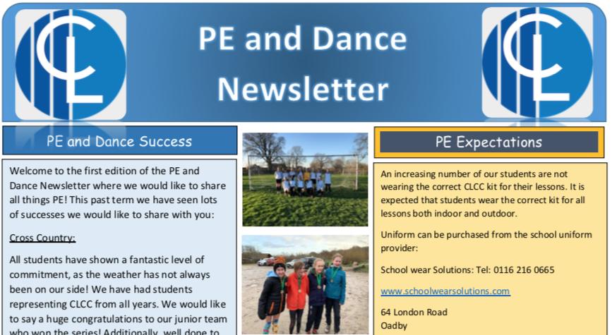 P.E. & Dance Department Newsletter – March 2020